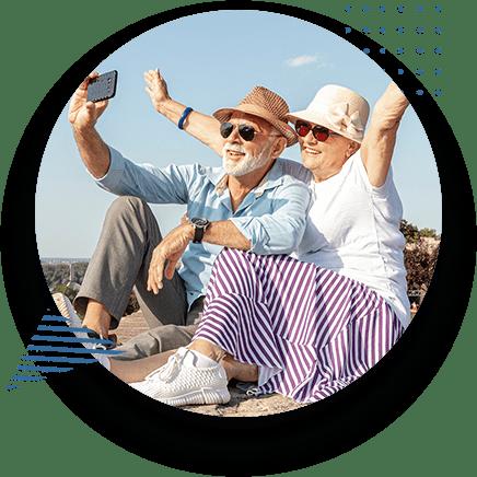 Eldery Couple Travelling Taking Selfie