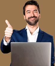 friendly male insurance advisor on laptop